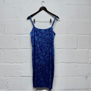 SALE I.N.C 100% Silk Blue Floral Slip Dress